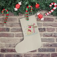 Personalised Candy Cane Bear Christmas Stocking