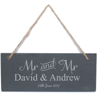 Personalised Mr & Mr Hanging Slate Sign Plaque