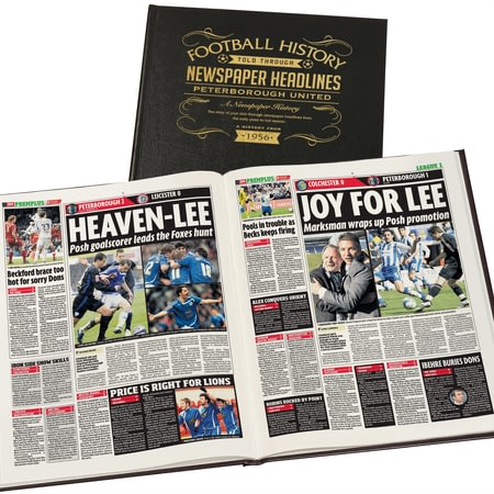 Personalised Peterborough United Football Newspaper History Book - Leather Cover