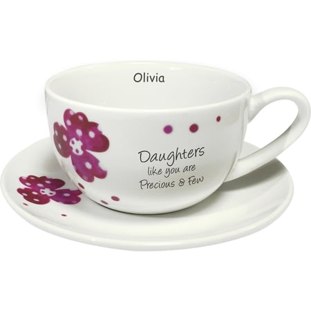 Personalised Pink Pansies Daughter Sentiments Cup & Saucer