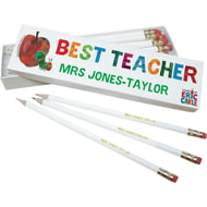 Personalised Very Hungry Caterpillar Best Teacher 12 White Pencils In White Box