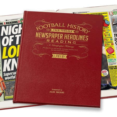 Personalised Reading Football Newspaper History Book - Leather Cover
