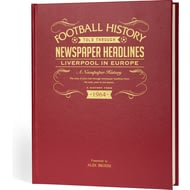 Personalised Liverpool FC In Europe Football Newspaper Book - A3 Leather Cover