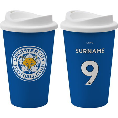 Personalised Leicester City FC Back Of Shirt 350ml Reusable Tea / Coffee Cup
