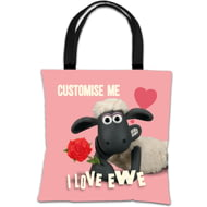 Personalised Shaun The Sheep Valentines 'I Love Ewe' Tote Bag