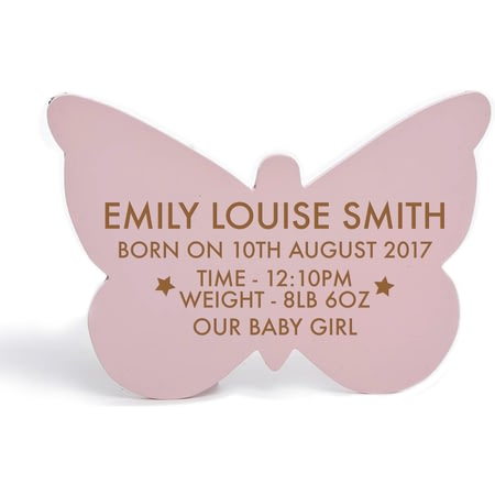 Personalised Birth Butterfly Hanging Sign