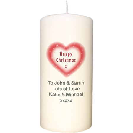 Personalised Happy Christmas Heart Candle