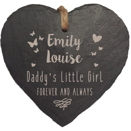 Personalised Daddys Little Girl Slate Hanging Heart