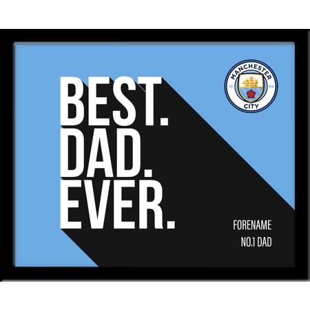 Personalised Manchester City FC Best Dad Ever 10x8 Photo Framed