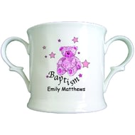 Personalised Teddy & Stars Pink Baptism Bone China Loving Cup