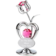 Personalised Engraved Crystocraft Flower Ornament with Red Crystals