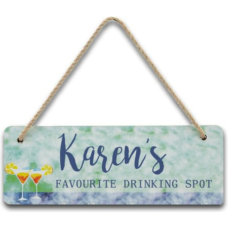 Personalised Favourite Drinking Spot Hanging Sign
