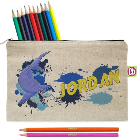 Personalised Underwater Adventure Shark Pencil Case And Pencils