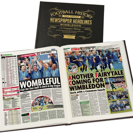 Personalised Wimbledon FC Football Newspaper Book - Leather Cover