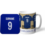 Personalised Chelsea FC Dressing Room Shirts Mug & Coaster Set