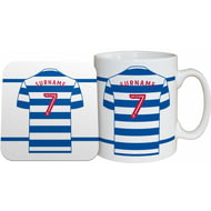 Personalised Queens Park Rangers FC Shirt Mug & Coaster Set