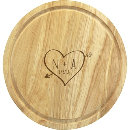 Personalised Sketch Heart Round Chopping Board