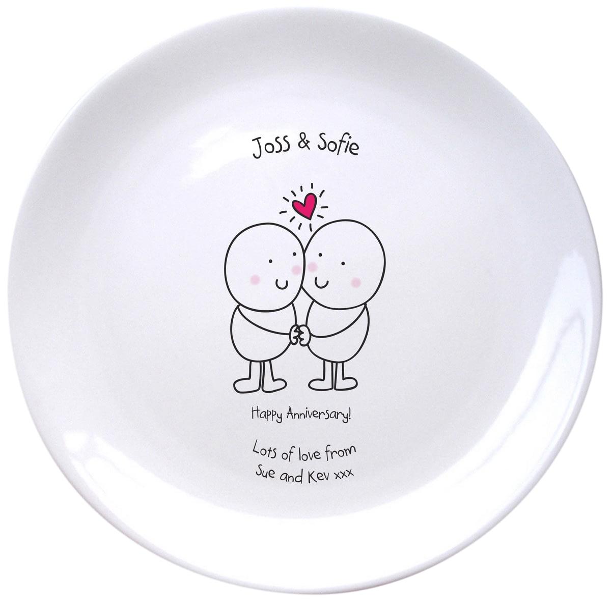 20th Anniversary Traditional Gift: Personalised Chilli & Bubble's Anniversary Ceramic Plate
