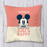 Personalised Disney Mickey Mouse 100% Happy Personalised Cushion - 45x45cm