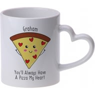 Personalised Pizza My Heart Heart Handle Ceramic Mug