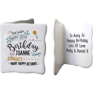 Personalised Birthday Slogan Ceramic Message Card