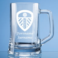 Personalised Leeds United FC Crest Stern Glass Pint Tankard