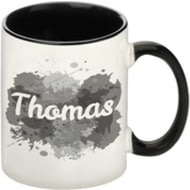 Personalised Splash Black Ceramic Mug