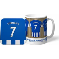 Personalised Brighton & Hove Albion FC Dressing Room Shirts Mug & Coaster Set
