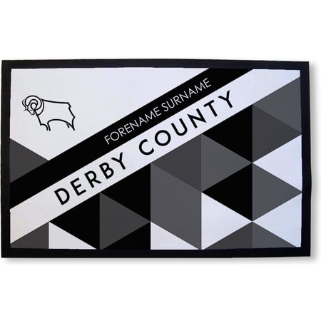 Personalised Derby County Patterned Rubber Backed Door Mat