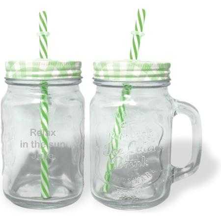 Personalised Green Mason Jar With Straw