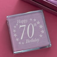 Personalised Birthday Age Jade Glass Block