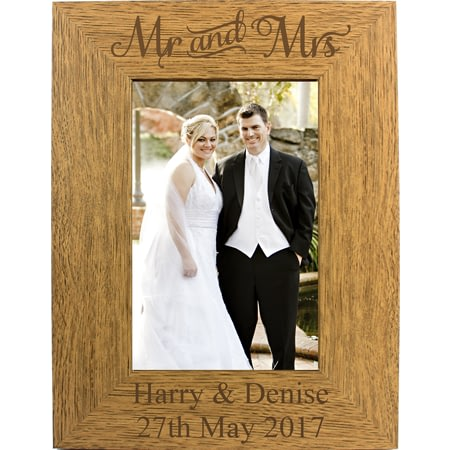 Personalised Engraved Mr & Mrs Wooden Photo Frame