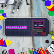 Personalised Old School Gamer Silver Pencil Tin