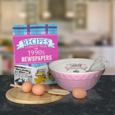 Personalised Large Pink Ceramic Mixing Bowl And 1990 Recipe Book