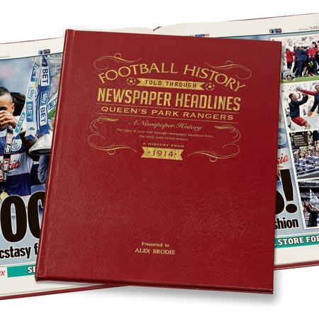 Personalised QPR Football Historic Football Newspaper Book - Leather Cover