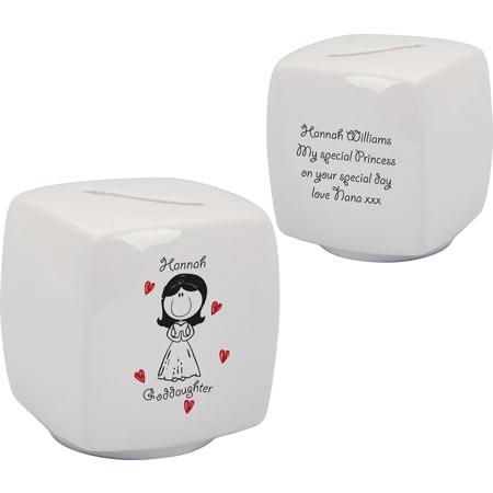 Personalised Graffiti Goddaughter Bone China Moneybox