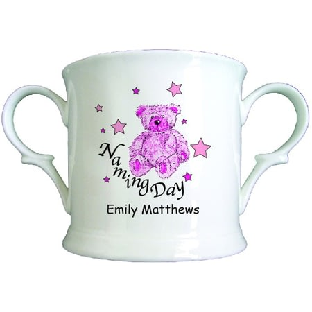 Personalised Teddy & Stars Pink Naming Day China Loving Cup