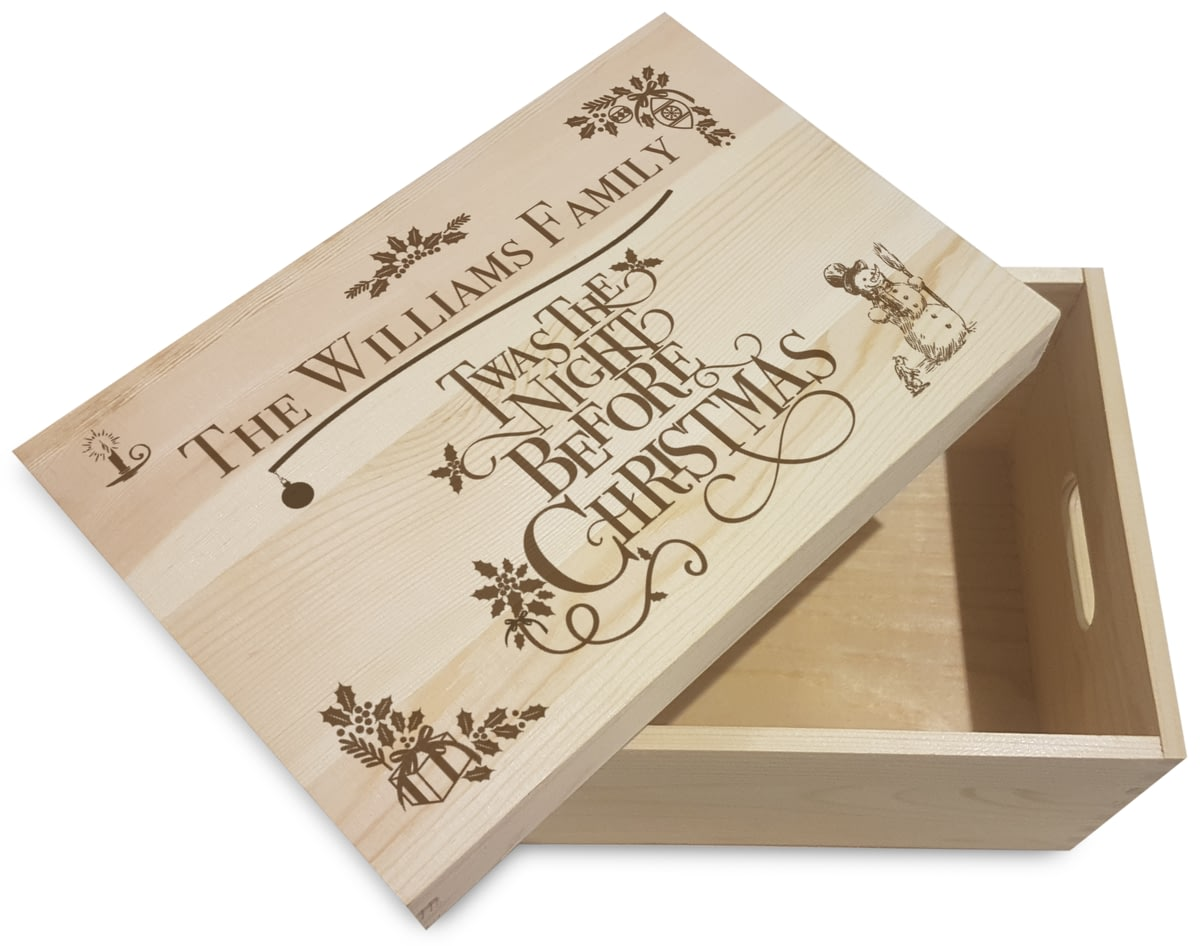 Personalised Twas The Night Before Christmas Eve Wooden Box