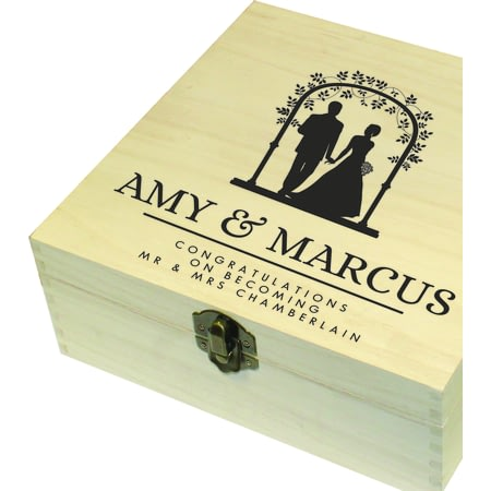 Personalised Wedding Large Wooden Memory Box