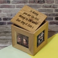 Personalised Engraved Wooden Photo Cube