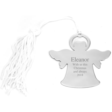 Personalised Silver Angel Christmas Tree Decoration