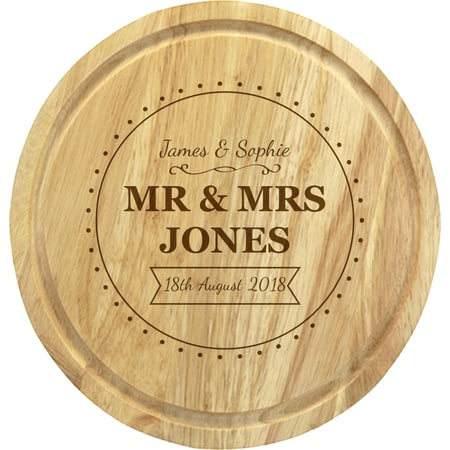 Personalised Mr & Mrs Cheeseboard With Knives