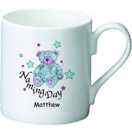 Personalised Teddy & Stars Blue Naming Day Ceramic Mug