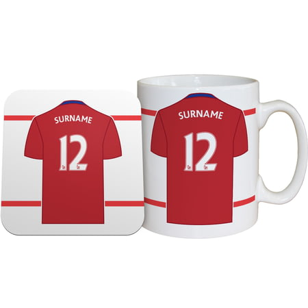 Personalised Middlesbrough FC Shirt Mug & Coaster Set