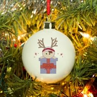 Personalised Reindeer Girl With Present Bone China Christmas Tree Bauble