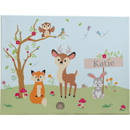 Personalised Woodland Animals Wall Canvas Print