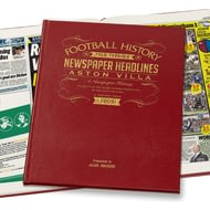 Personalised Aston Villa Football Newspaper Book - Leather Cover