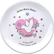 "Personalised Dove & Hearts Pink Christening 8"" Coupe Plate"