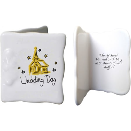 Personalised Church Wedding Day Ceramic Message Card