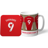 Personalised Middlesbrough Dressing Room Shirts Mug & Coaster Set